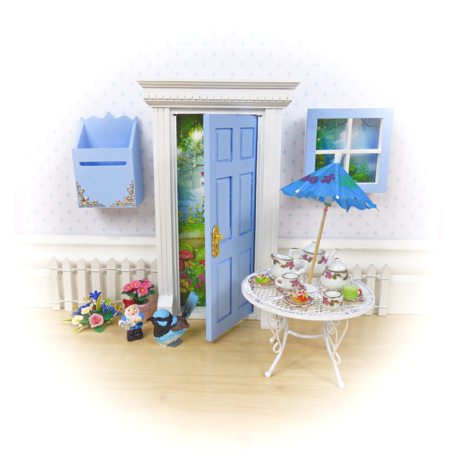 blue opening fairy door
