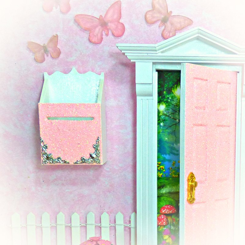 peaches and cream glitter fairy mailbox