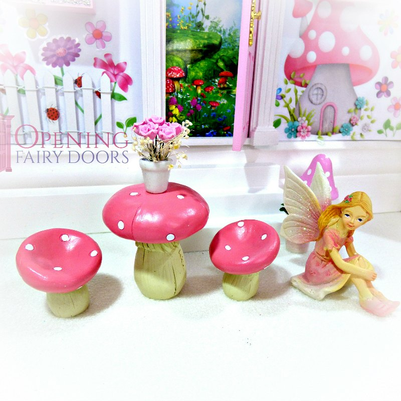 pink mushroom table and chairs set