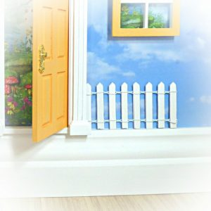 white fairy door fence