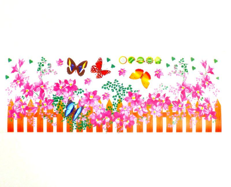 Pink flowers wall sticker scene