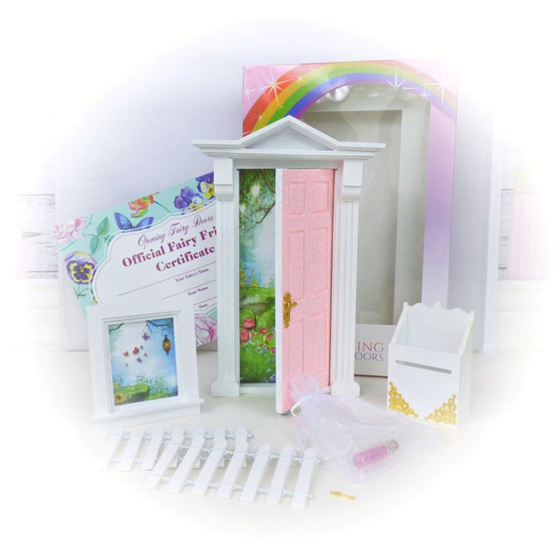 Peaches and cream glitter opening fairy door starter set