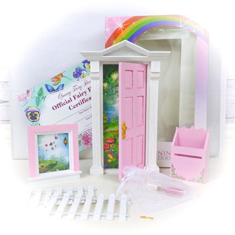 pink opening fairy door starter set