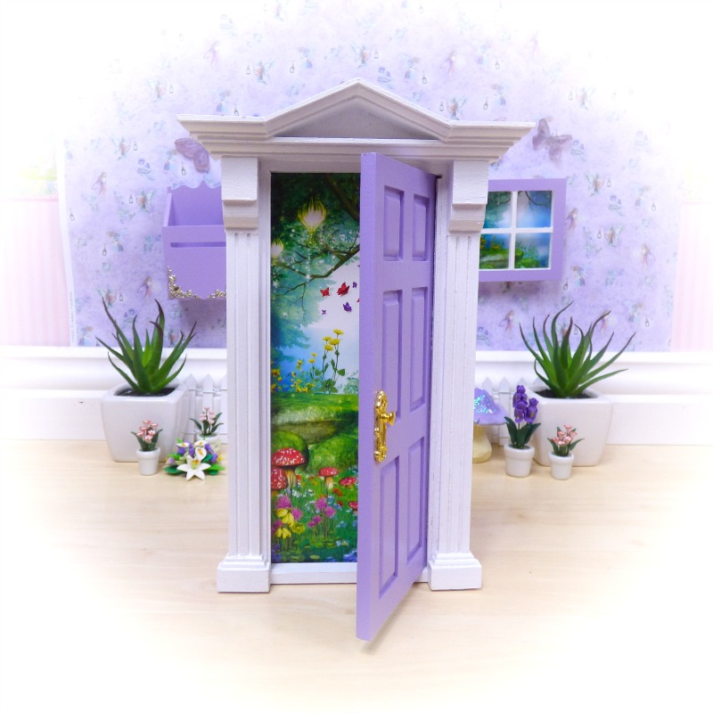purple opening fairy door