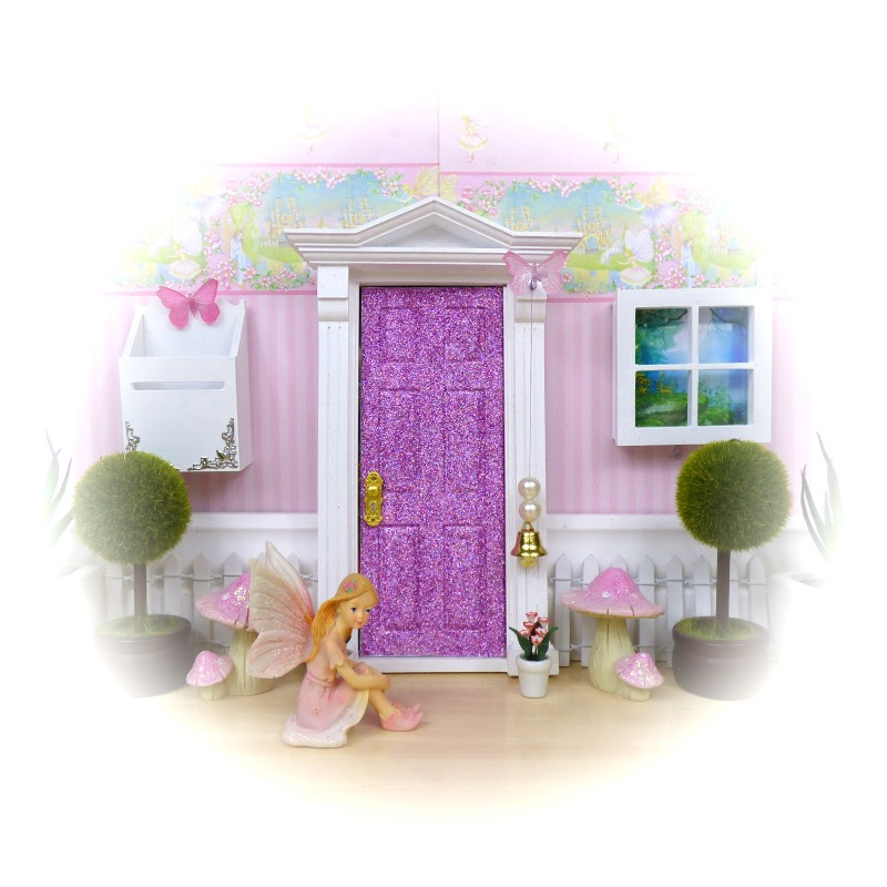 purple glitter opening fairy door