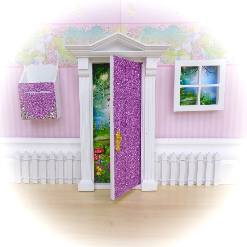 purple glitter opening fairy door starter set