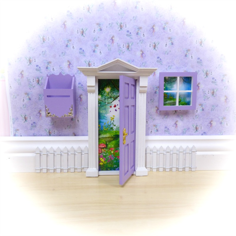 purple opening fairy door starter set