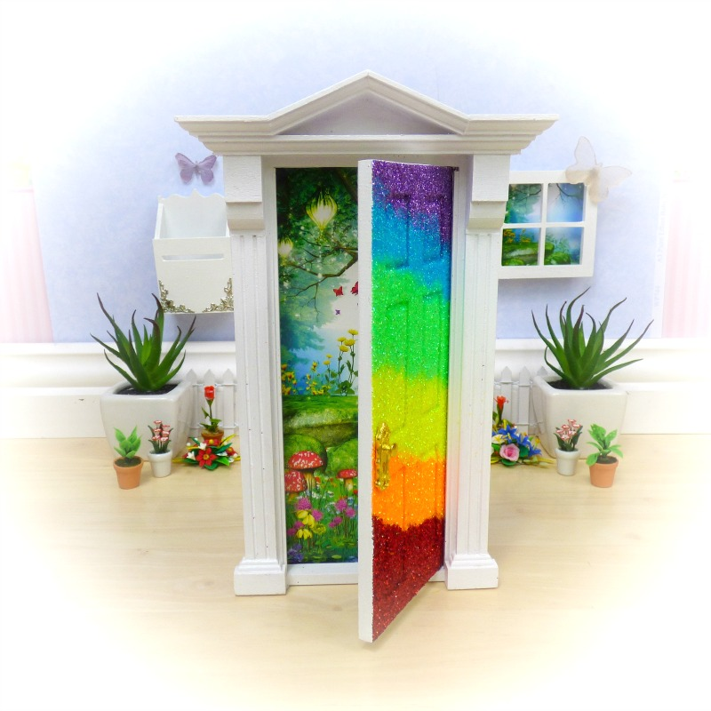 rainbow glitter opening fairy door