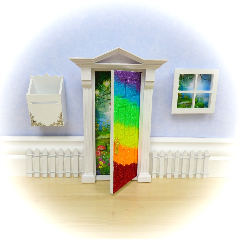 rainbow glitter opening fairy door starter set