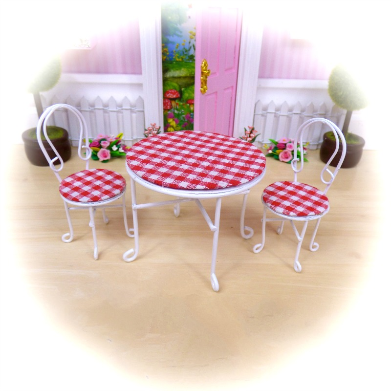 red table chairs set