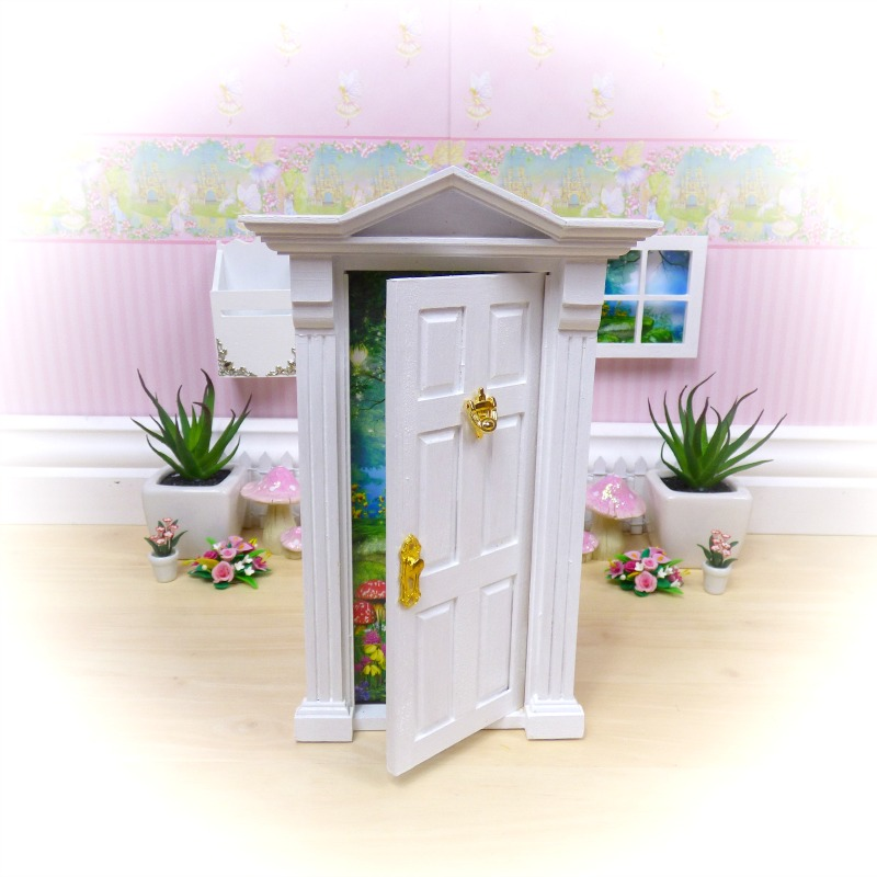 white opening fairy door set