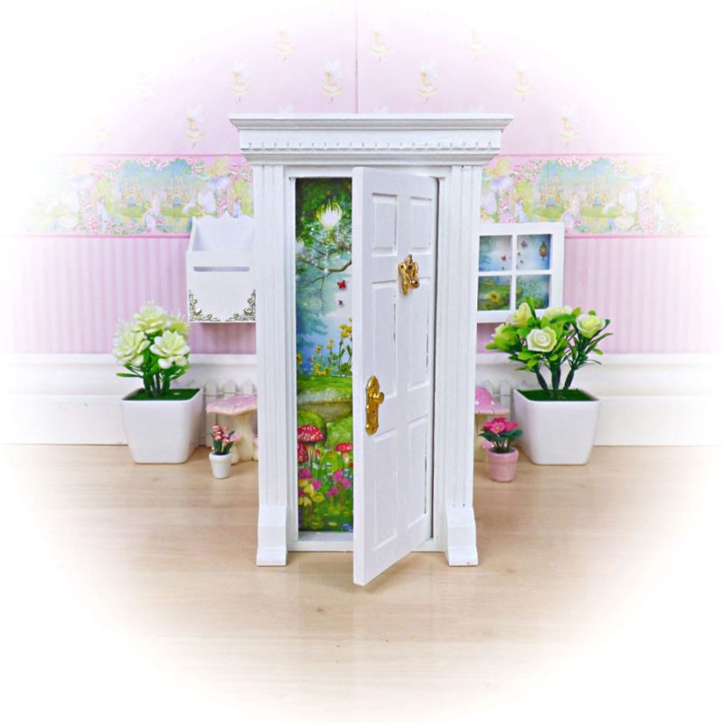 white opening fairy door
