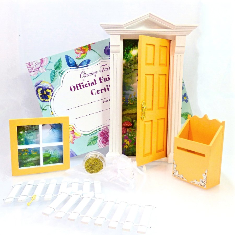 yellow opening fairy door starter set