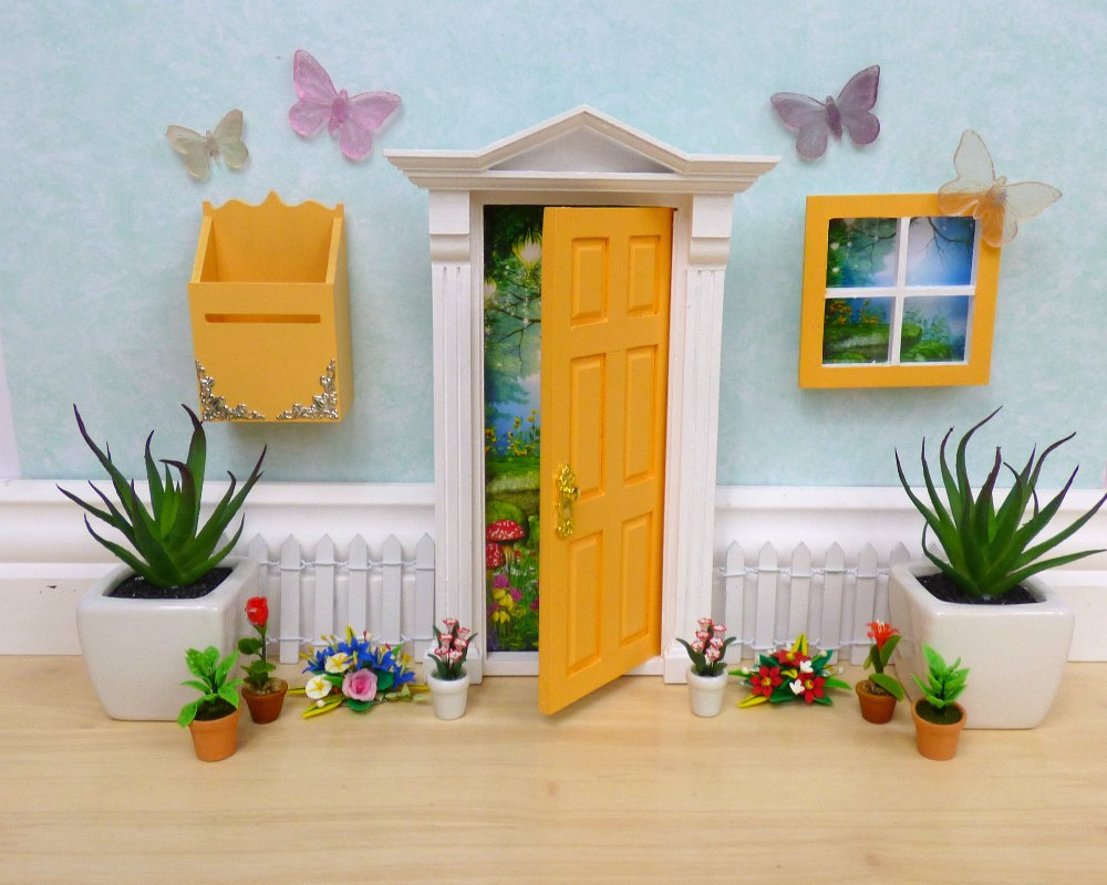 yellow opening fairy door