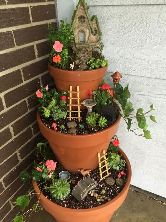 how to make a fairy garden pot tower