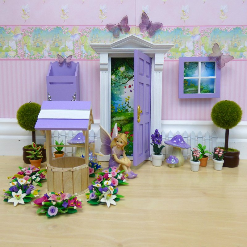 purple opening fairy door and accessories