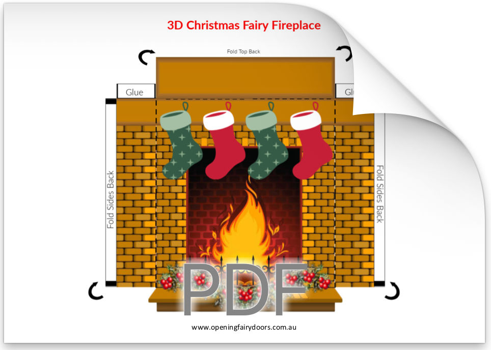 3D Christmas Fairy Door Fireplace