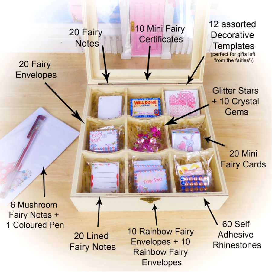 Fairy Mail Kit in wooden box by opening fairy doors