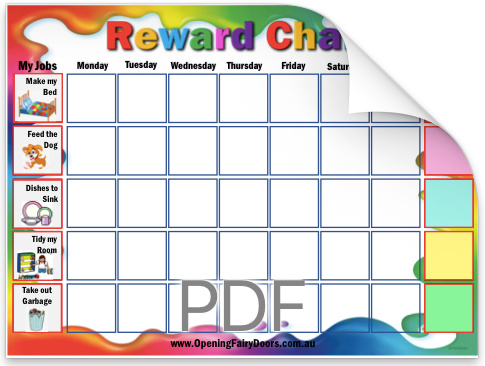 A Reward Chart for print from Opening Fairy Doors