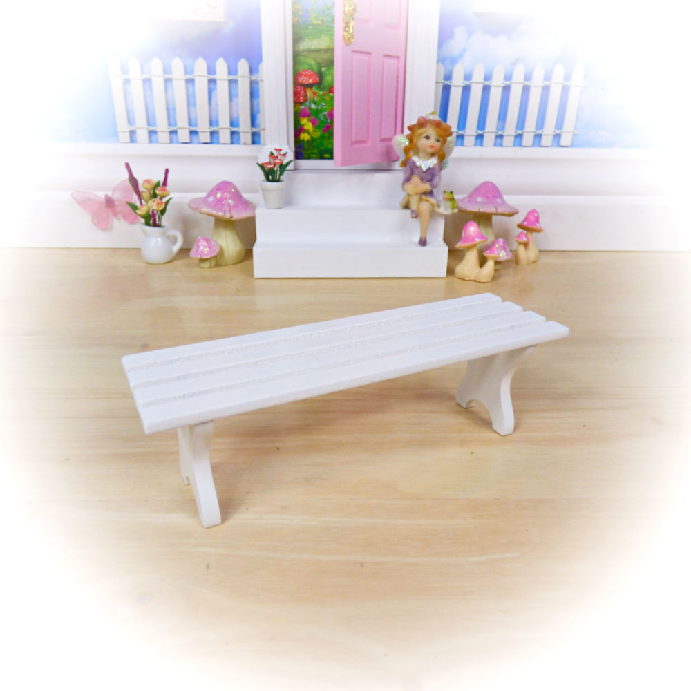 White Fairy Bench by Opening Fairy Doors
