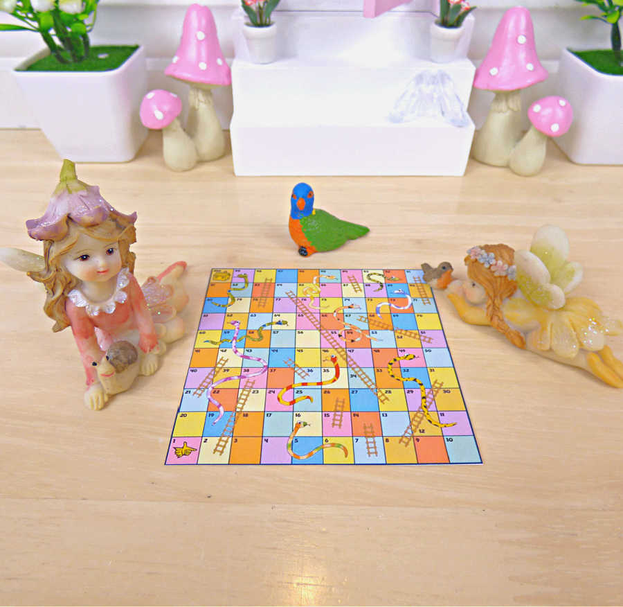Fairy Home Fun miniature snakes and ladders game