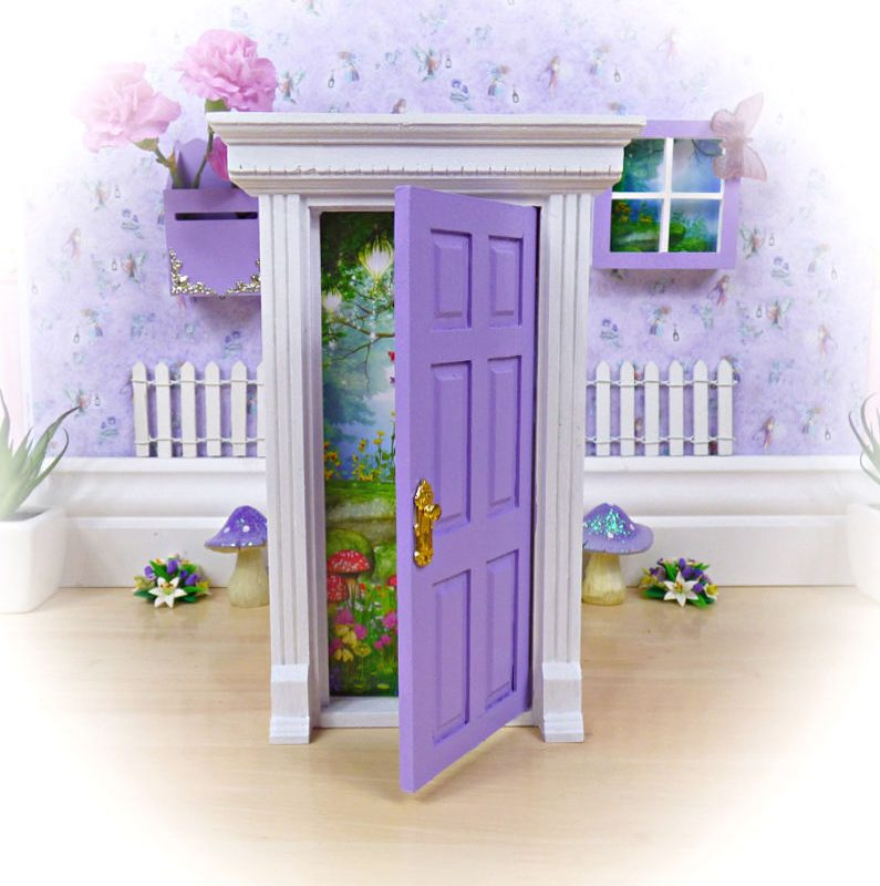 purple & white opening fairy door