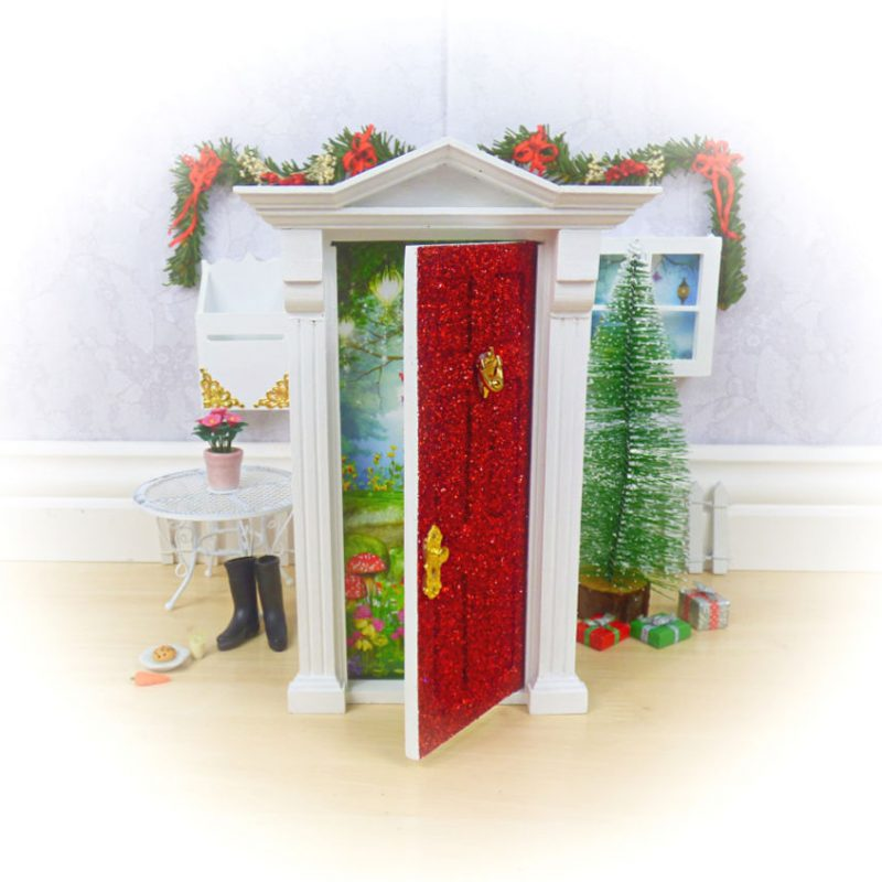 Red Glitter Christmas Opening Fairy Door