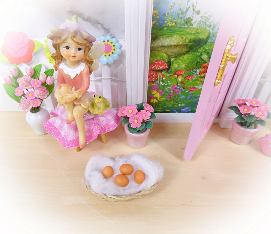 easter fairy basket with eggs